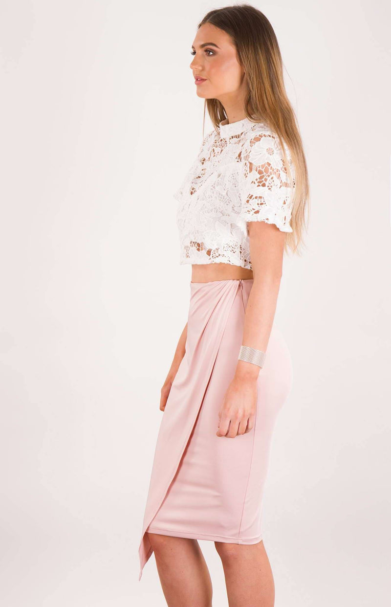 Drape Panel Midi Skirt In Blush