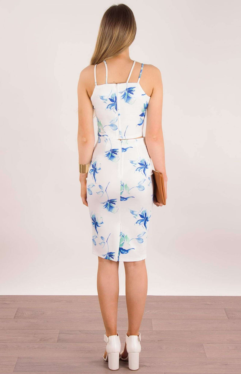 Floral Print Matching Set Crop in Blue Floral