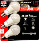 Luminus LED A70 with E27 Edison Screw 15W 4000K Dimmable Bulbs - 3 Pack