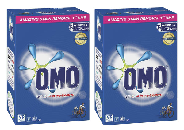 Omo Active Clean Laundry Detergent Washing Powder Front & Top Loader 2 x 5kg