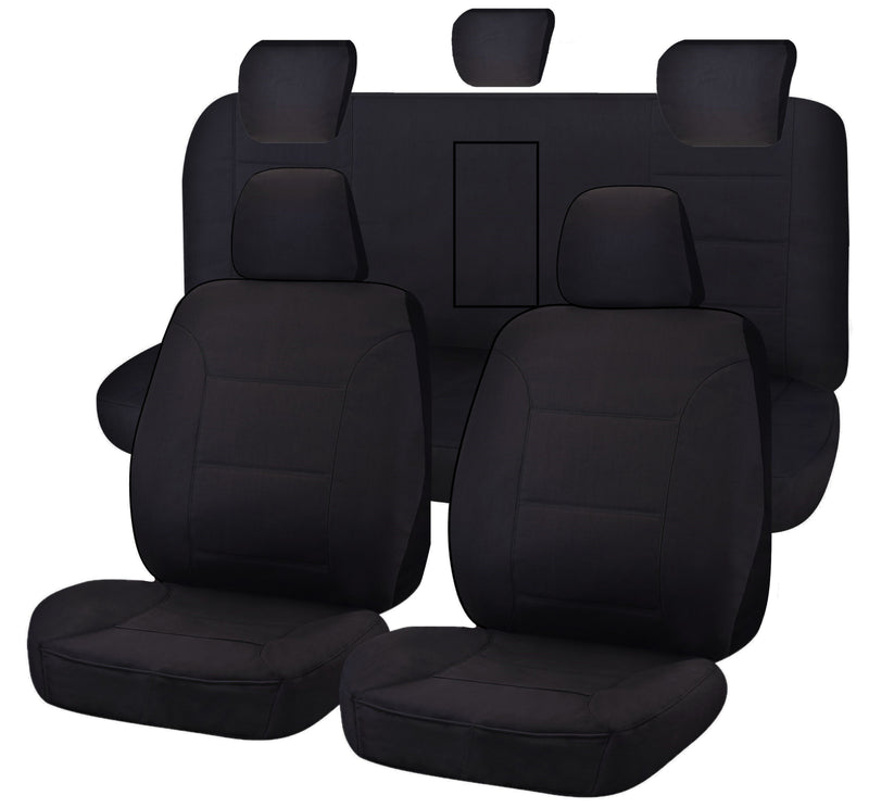 Tailor Made Challenger II Seat Covers for ISUZU D-MAX 06/2012-ON DUAL CAB UTILITY BLACK