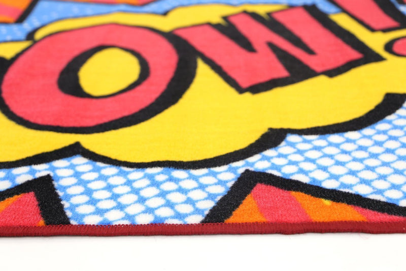 Non Slip Multicolour Kids Graphic Art Comic Book Pow Area Rug Baby Play Mat