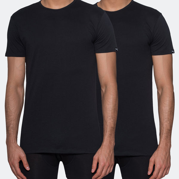 Puma 2-Pack Crew-Neck T-Shirts Black, US Sizes: S-XL