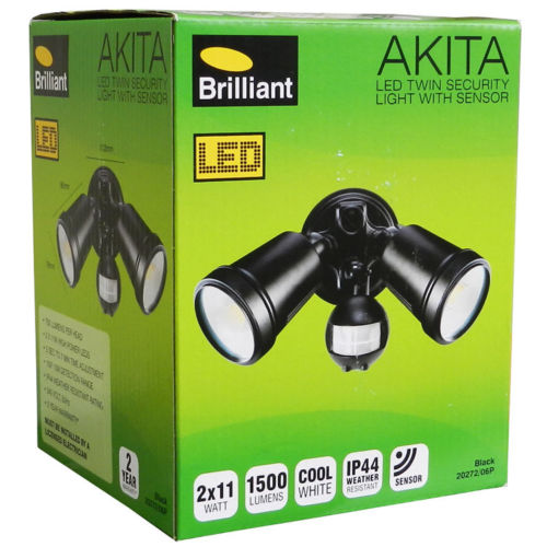 Brilliant Akita ecurity Outdoor Light With Sensor 2 X 11w / 1500LM