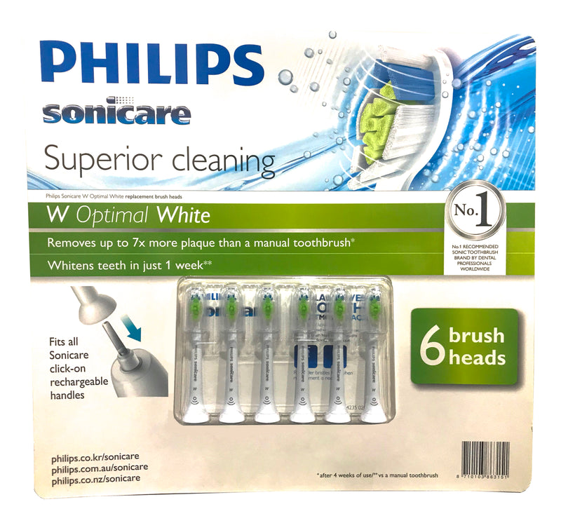 Philips Sonicare W Optimal White Electric Toothbrush Replacement Heads (6-pack )