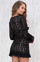 Curled Frill Lace Dress In Black
