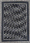Sisalo Grey Geometric Ikat Bordered Rug