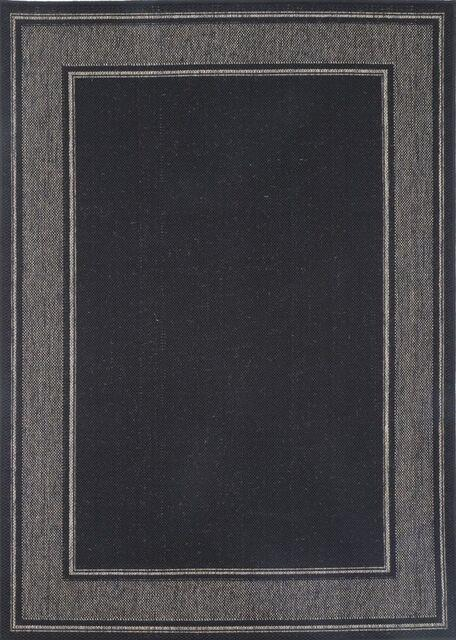 Sisalo Black Bordered Line Pattern Rug
