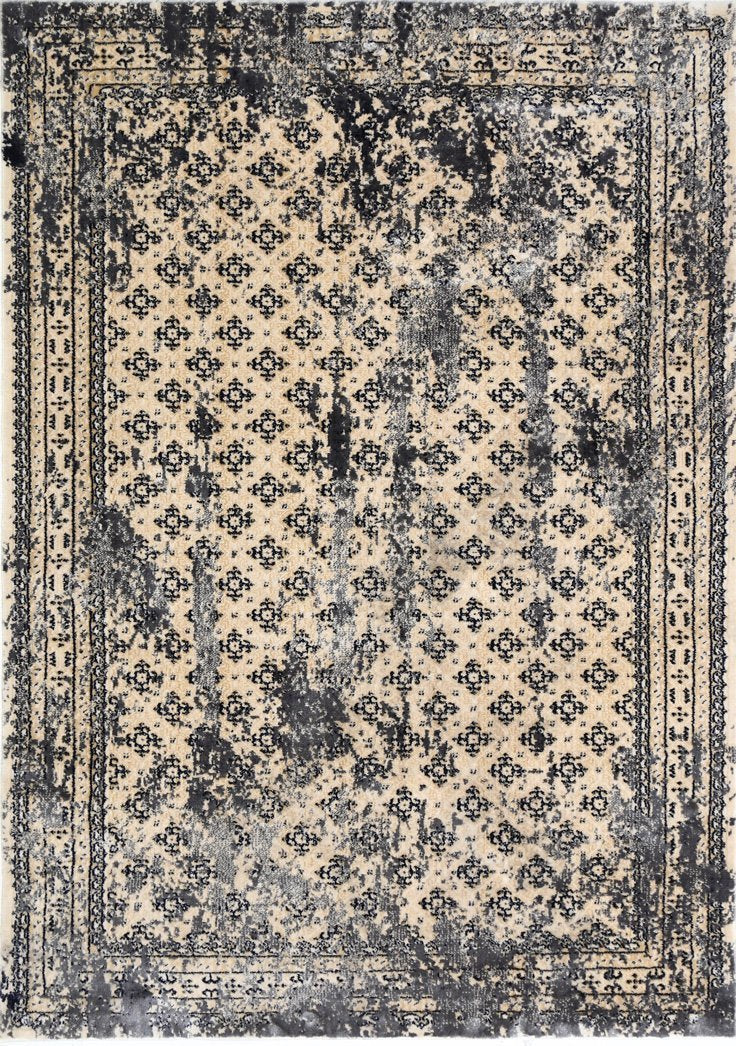 Expression Beige & Grey Distressed Traditional Vintage Persian Boarder Rug