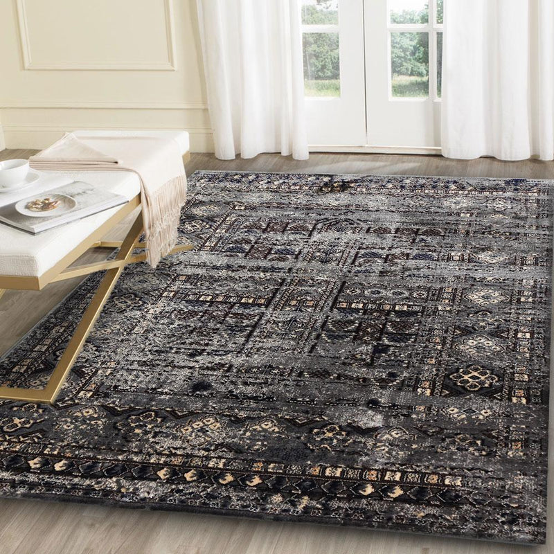 Expression Grey Distressed Traditional Vintage Seasons Persian Rug