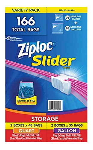 Ziploc Storage Slider Variety Pack 166 Ct, Quart 96 Ct + Gallon 70 Ct