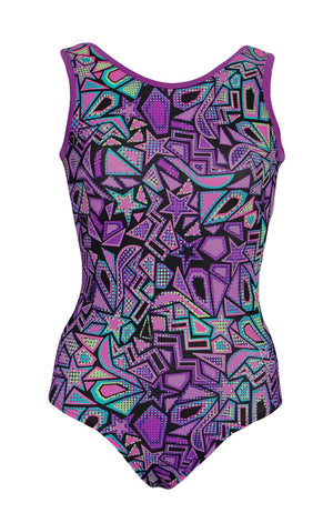 Cosmic Shapes Gymnastic Leotard Tank Style Front