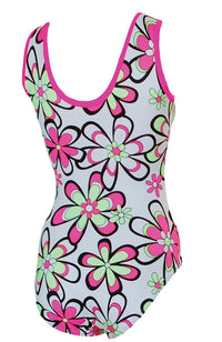 Flower Power Tank Style Gymnastic Leotard Back