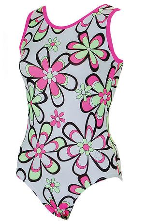 Flower Power Training Leotard Tank Style Front