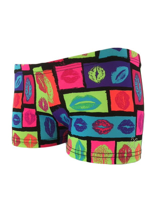 Gymnast Shorts with Multi Color Lips Front