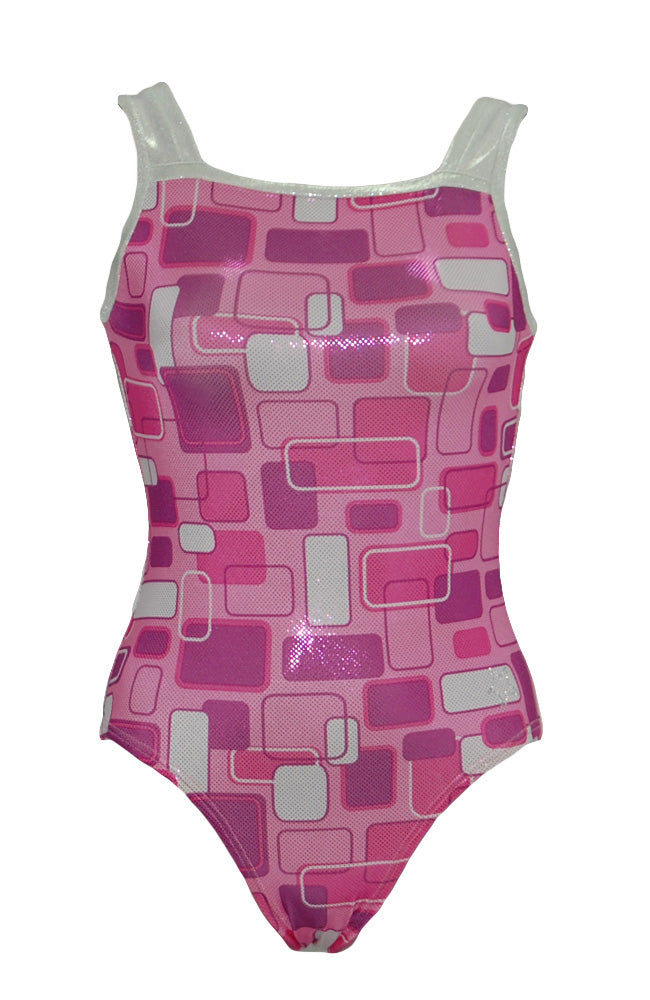 Geo Pink Training Leotard Square Neck Style Front