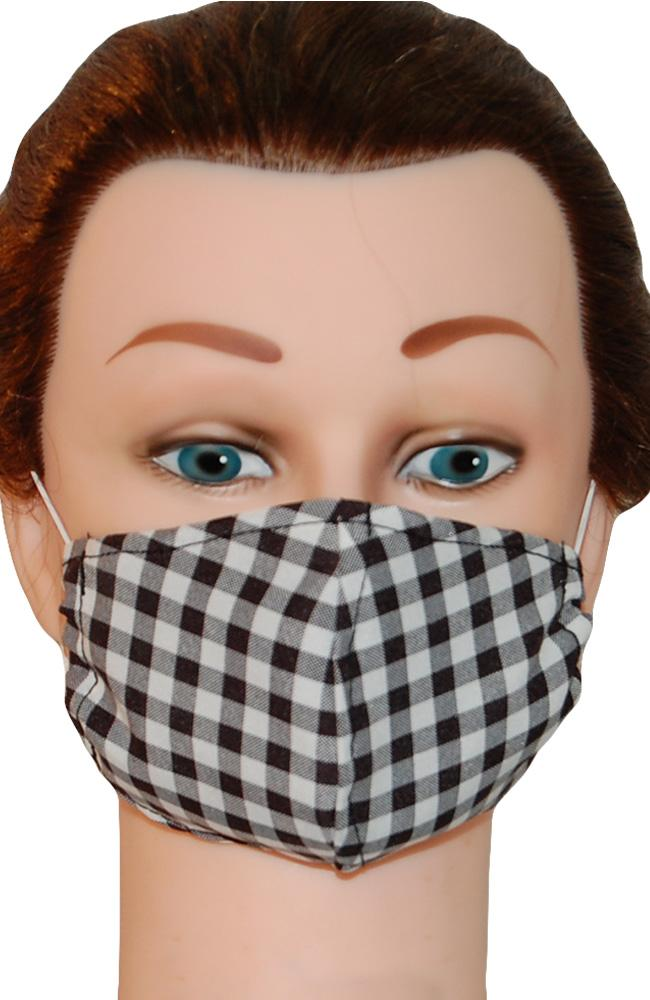 Face Mask Non-Medical Gingham Black and White