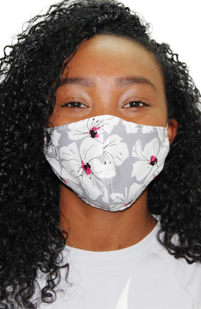 Face Mask Non-Medical Flowers on Grey