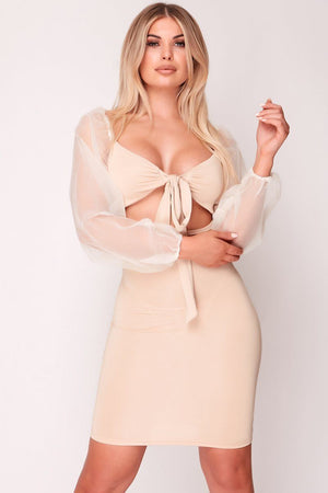 Beige Mesh Sleeve Tie Front Bodycon Dress
