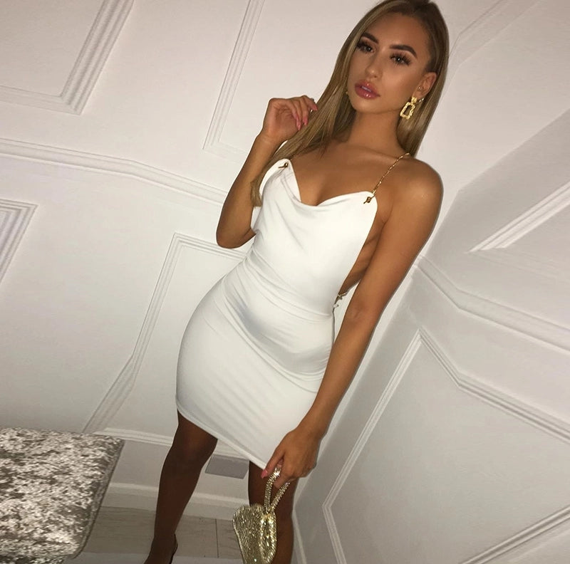Double Layers White Mini Bodycon Dress