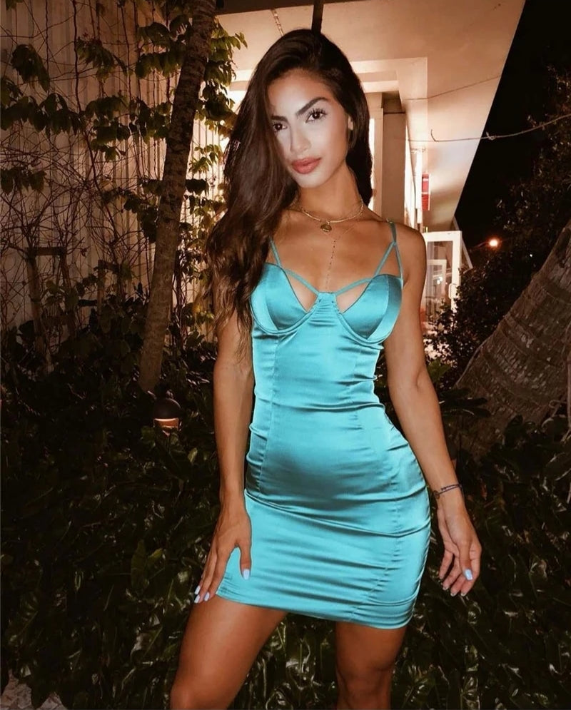 Spaghetti Straps Push Up Padded Bodycon Dress
