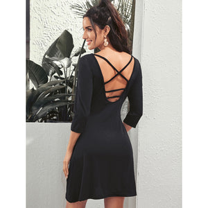 Crisscross Back Scoop Neck Dress