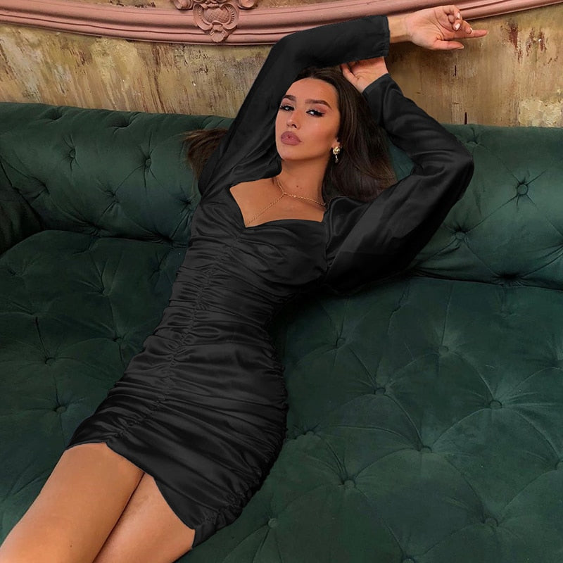 Satin Mini Dress Long Puff Sleeve