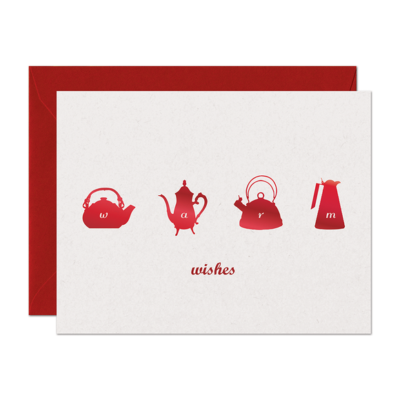 SALE - Warm Wishes Holiday Card (Metallic Red Foil)
