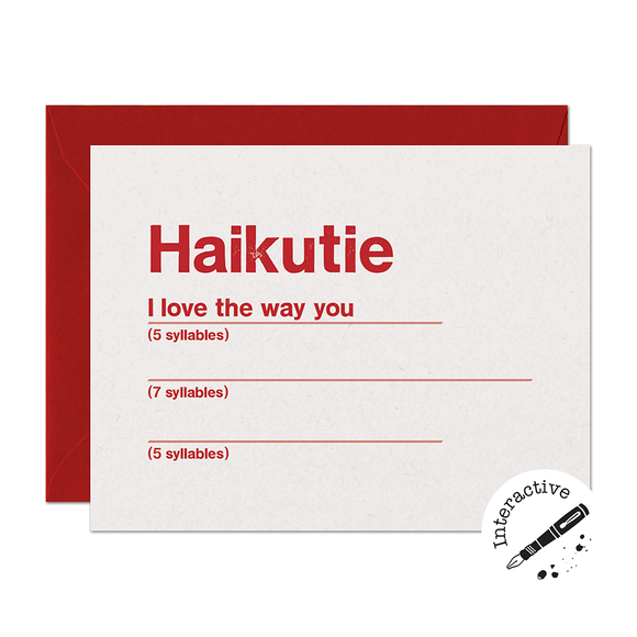 CLEARANCE - Haikutie Love Card (Interactive)
