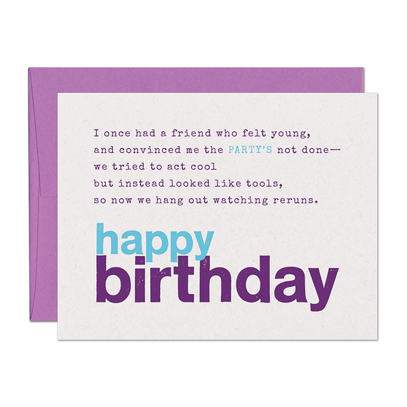 SALE - Limerick Party Birthday Card