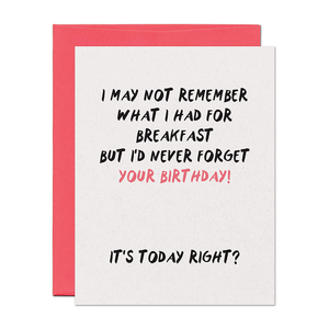 Never Forget Birthday Card