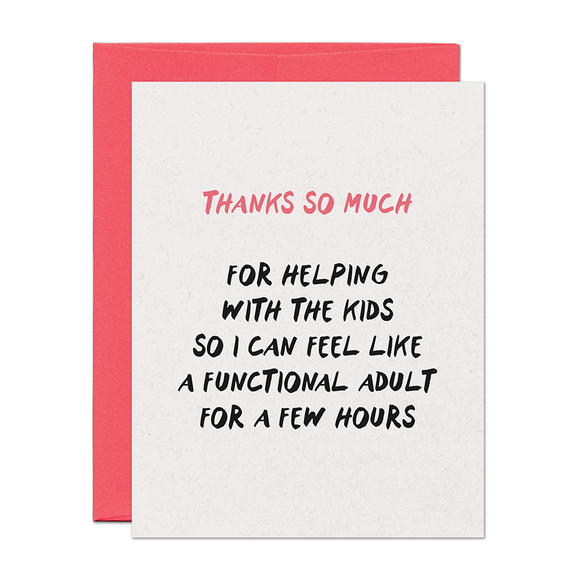 Functional Adult Thank You Card