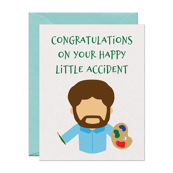 Bob Ross Happy Accident Baby Card
