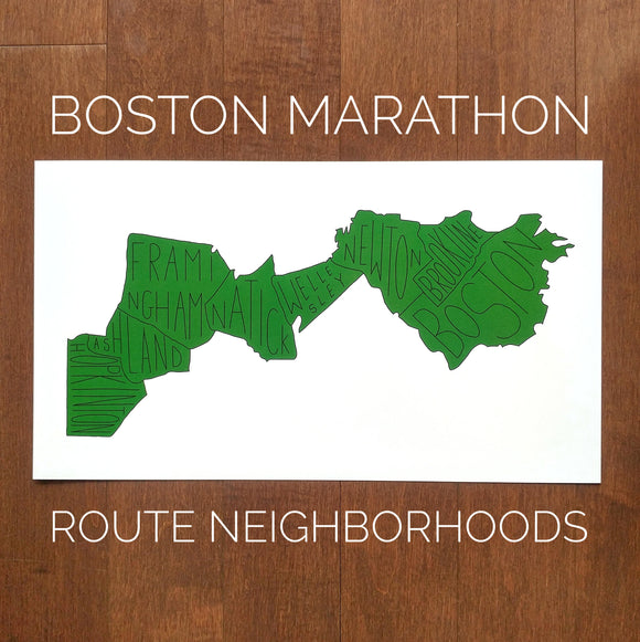 Boston Marathon Route Neighborhoods Print (9 x 16
