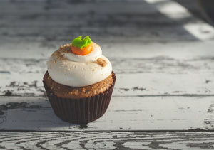Carrot Cupcake with Cream Cheese frosting (Rs 80/Piece, Min Order 12 nos)