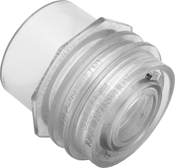 AquaStar Vac Fitting With Water Stop - 1-1/2 Inch FPT - Clear 3200