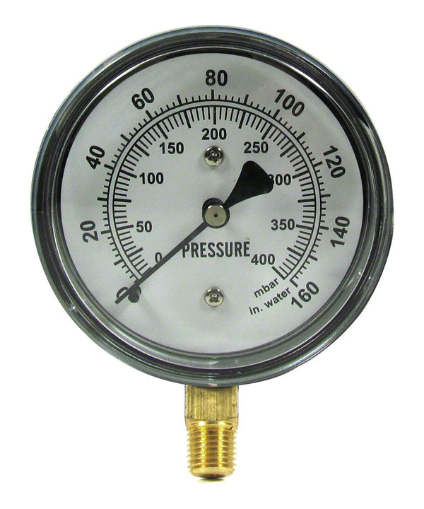 Gast 0 to 160 PSI Pressure Gauge - 1/4 Inch Bottom Mount - 2-1/2 Inch Face - Stainless Steel Case AE133