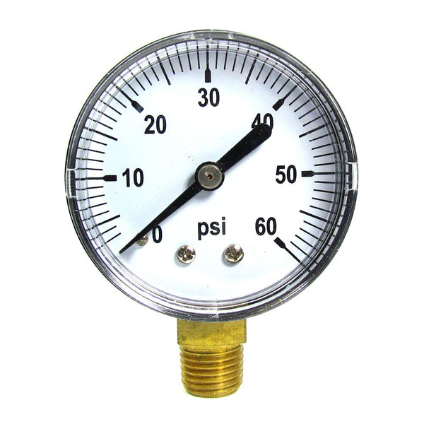 0 to 60 PSI Pressure Gauge - 1/8 Inch Bottom Mount - 2 Inch Face - Stainless Steel Case AQPG-101