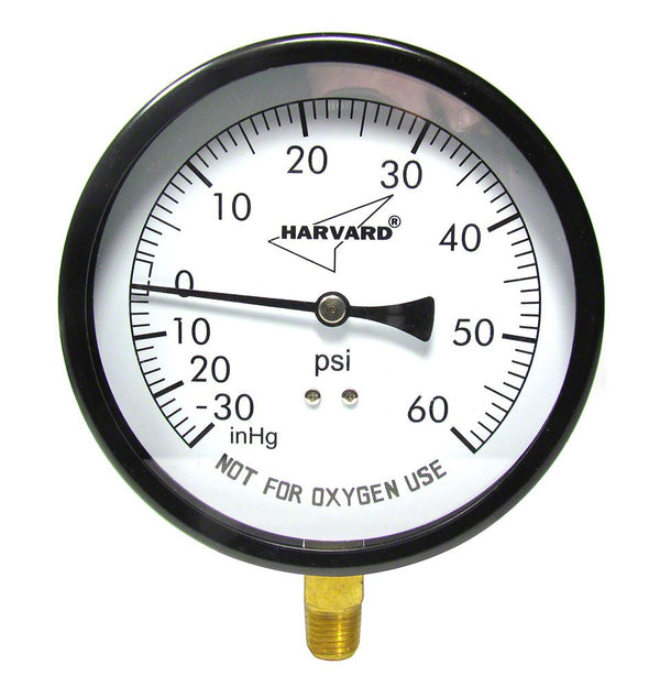 Hayward -30 to 60 PSI Vacuum/Pressure Gauge - 1/4 Inch Bottom Mount - 4-1/2 Inch Face - Stainless Steel Case AQPG-103