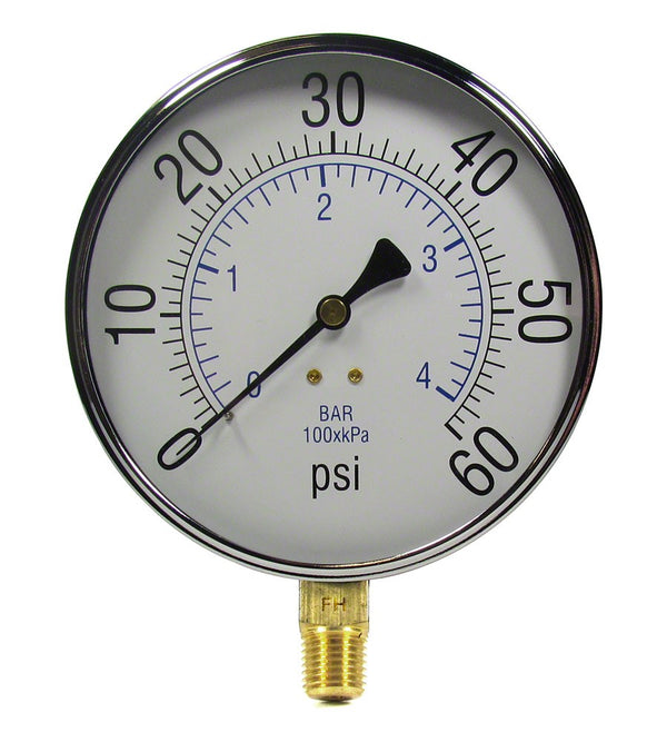 0 to 60 PSI Pressure Gauge - 1/4 Inch Bottom Mount - 4-1/2 Inch Face - Stainless Steel Case AQPG-105