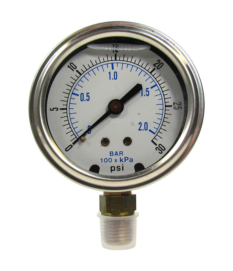 0 to 30 PSI Liquid Filled Pressure Gauge - 1/4 Inch Bottom Mount - 2-1/2 Inch Face - Stainless Steel Case AQPG-108
