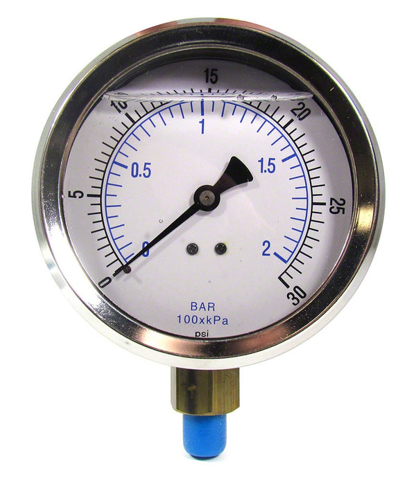 0 to 30 PSI Liquid Filled Pressure Gauge - 1/4 Inch Bottom Mount - 4 Inch Face - Stainless Steel Case AQPG-112