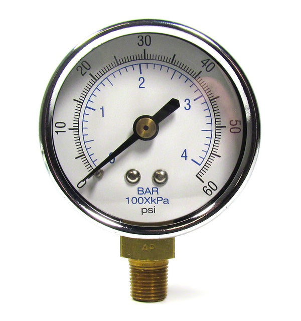 0 to 60 PSI Pressure Gauge - 1/4 Inch Bottom Mount - 2 Inch Face - Plastic Case AQPG-116