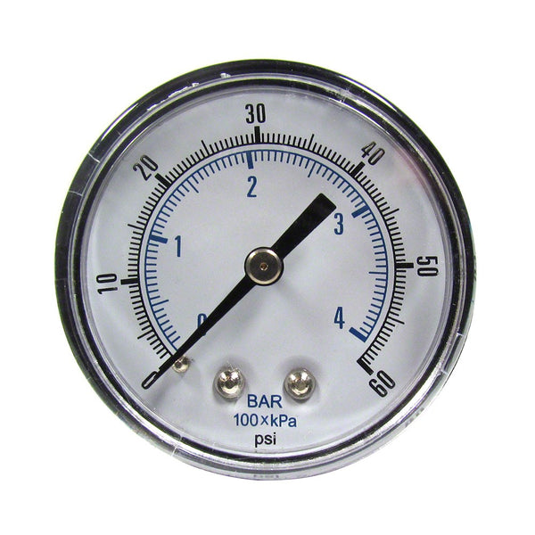 0 to 60 PSI Pressure Gauge - 1/4 Inch Back Mount - 2 Inch Face - Plastic Case AQPG-117