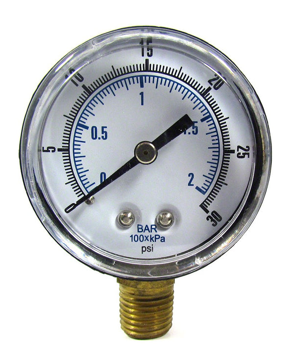 0 to 30 PSI Pressure Gauge - 1/4 Inch Bottom Mount - 2 Inch Face - Plastic Case AQPG-118
