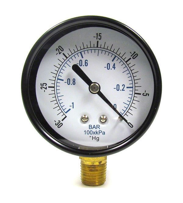 30 to 0 PSI Vacuum/Pressure Gauge - 1/4 Inch Bottom Mount - 2-1/2 Inch Face - Stainless Steel Case AQPG-122