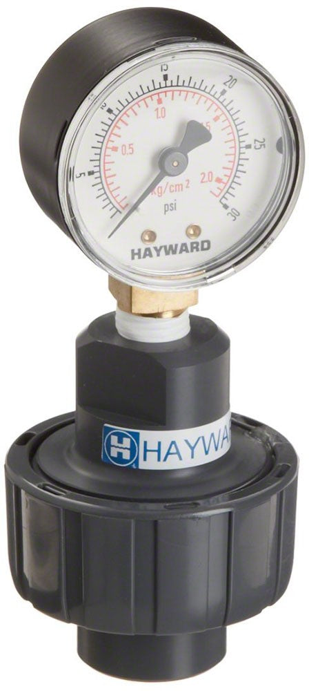 Hayward 0-30 PSI Pressure Gauge With Gauge Guard - 1/4 Inch - Stainless Gauge PVC Guard GG125X25030