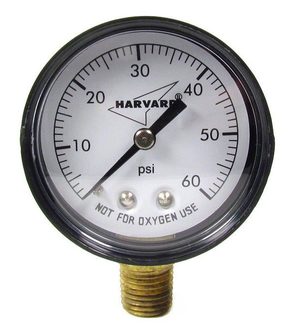 Hayward 0 to 60 PSI Pressure Gauge - 1/4 Inch Bottom Mount - 2 Inch Face - Plastic Case IPPG6024L