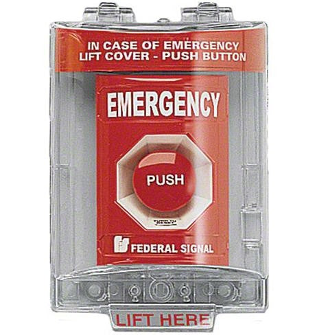Pull Station With Sounder and Cover, Emergency Red PSEMSC-R