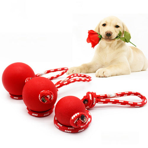 Dog Playing Chew Tug Pull Rope Toy Ball New